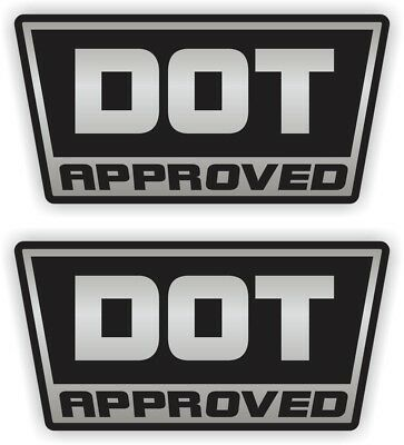 (Pair) DOT Approved Motorcycle Helmet Stickers  Decals  D.O.T. Hard Hat Safety