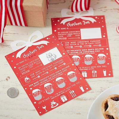 CHRISTMAS Present SCRATCH CARDS Table Decorations Place Card Trivia Xmas Game