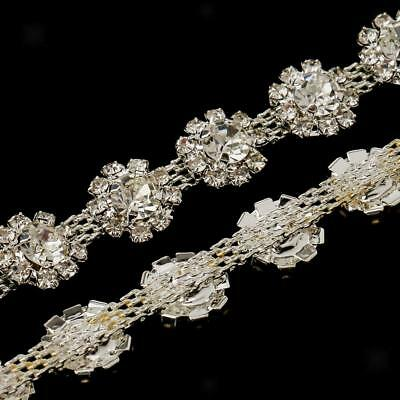 1 Yard Metal Flower Rhinestone Chain Ribbon Trim Wedding Dress Embellishment