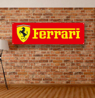 FERRARI Vinyl Banner Sign Garage Workshop Flag Poster Logo Emblem