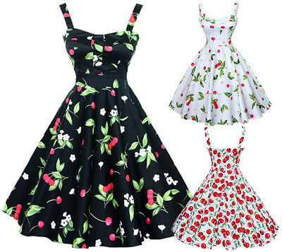 US Retro Women Floral Swing 1950s Housewife Pinup Vintage Rockabilly Party Dress