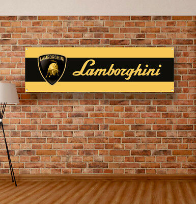 LAMBORGHINI Vinyl Banner Sign Garage Workshop Flag Poster Logo Emblem