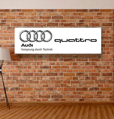 AUDI QUATTRO Vinyl Banner Sign Garage Workshop Flag Poster Logo Emblem