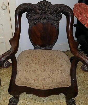 Antique Hand-carved armchair with tapestry seat
