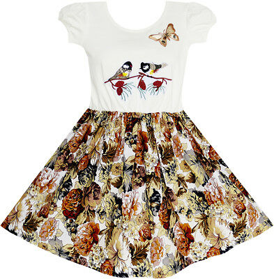 US Seller Girls Dress Vintage Bird Butterfly School Party Dress Size 5-10
