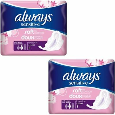 Always Sensitive Sanitary Towels Soft Like Cotton Long Ultra Wings - 16 Pack