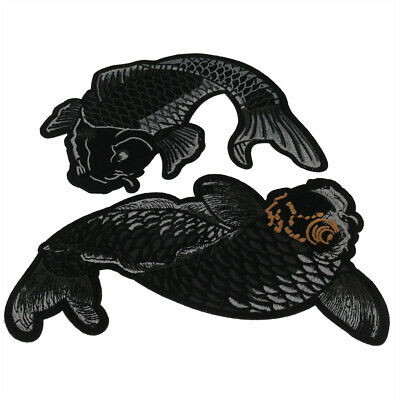 Japanese koi Fish Iron on Patches Embroidered Applique Clothes Jacket Jeans