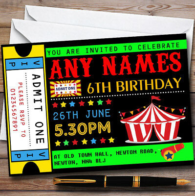 Circus Carnival Ticket Personalised Childrens Birthday Party Invitations