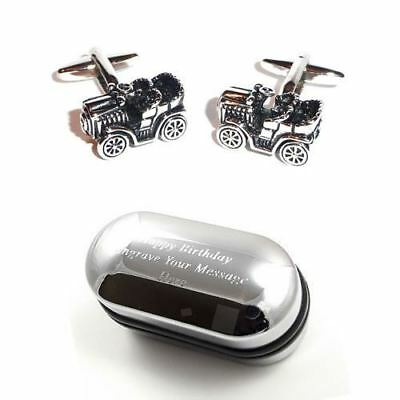Cool Retro Old Style Motor Car Cufflinks & Engraved Gift Box