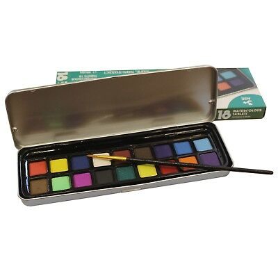 Art & Craft Watercolour Paint Tin Set of 18 Colours & 1 Brush