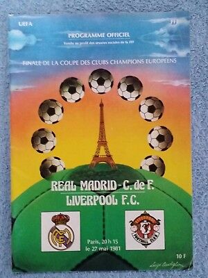 1981 - EUROPEAN CUP FINAL PROGRAMME - REAL MADRID v LIVERPOOL - ORIGINAL