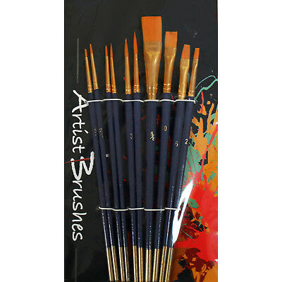 10 Assorted Synthetic Art & Craft Paint Brush Set for Acrylic, Watercolour, Oil