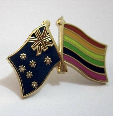 Aussie Flag & Gay Pride Rainbow, Marriage Equality Support Metal Pin/badge.