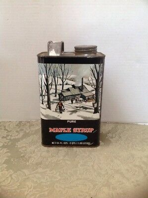 Vintage Pure Maple Syrup 64 oz. Maple Syrup Tin Metal Can Screw Cap Handle