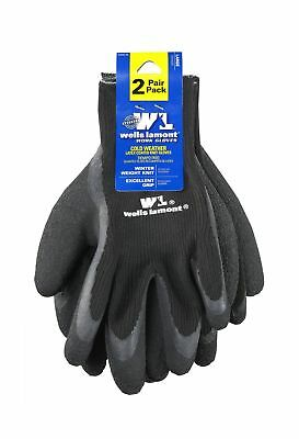 Cold Weather Latex Work Gloves Textured Coating for Excellent Grip 2-Pack - NEW
