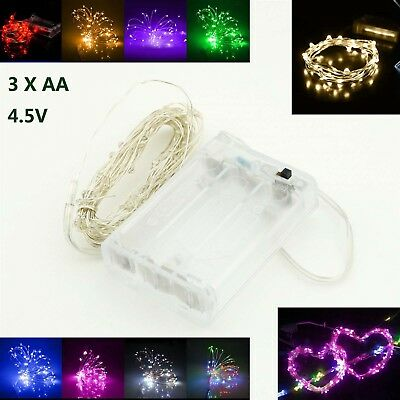 2m 20LEDs Battery Power Operated LED Silver Wire String Fairy Lights Party Decor