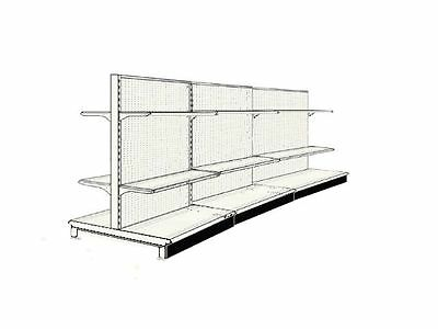 "16' Aisle Gondola For Convenience Store Shelving Used 54"" Tall 36"" W"