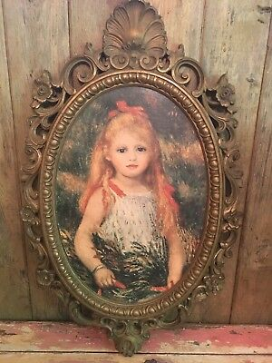 Vintage Hollywood Regency Syroco Frame Framed Print Girl Portrait Ornate