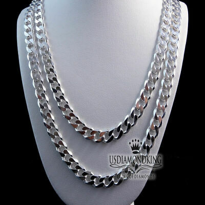 """Men's Women's 925 Sterling Silver Miami Cuban Curb Necklace Chain 20"""" & 24"""" 5Mm"""