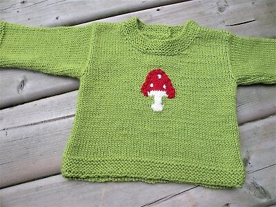 Hand Knitted Wool Bamboo Baby Sweater Medium size 12 Months