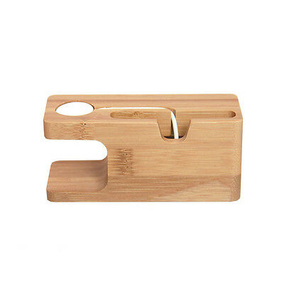 Bamboo Charging Dock Station Charger Stand Holder for Apple iPhone iWatch 14.5CM