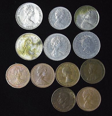 Lot of 12 Canada Australia Cayman Islands 1, 5 Cents UK Commonwealth