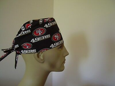 Surgical Scrub Hat/ Cap -NFL-SAN FRANCISCO 49ERS (Black)- One size-  Men Women
