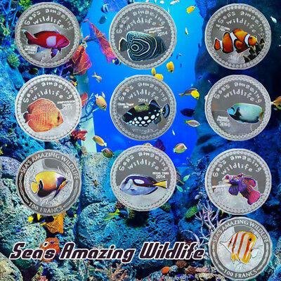 WR Burundi 2014/2015 10PCS 1 OZ Silver Coin Set Colored Sea's Amazing Wildlife