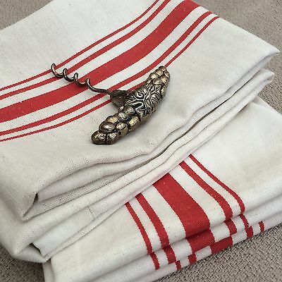 PAIR Vintage French Stripe Cloths Red with hanging Loops