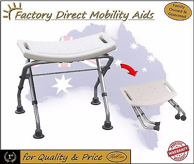 Aluminium Folding Shower stool With Adjustable Height  / Folds Easy to transport