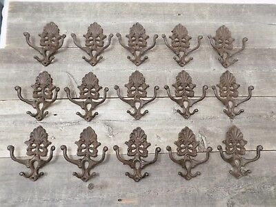 15 Cast Iron Coat Hat Wall Hooks Antique Style School Farm Tack Closet Brown