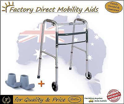 Folding Walking frame / Zimmer Free Wheels Walker / slides Right Price!