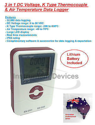 3in1 Professional DC Voltage, Type K Thermocouple, Air Temperature Data Logger
