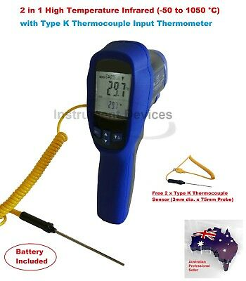 High Temp DuaI Laser Infrared And K Thermocouple Thermometer (-50~1050°C)
