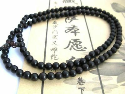 Black Ebony Wood 108 8mm Buddhist Prayer Bead Mala Necklace/Bracelet