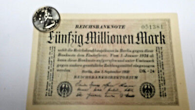 Rare genuine german 50 Million Mark Weimar inflation banknote 1923 uncirculated
