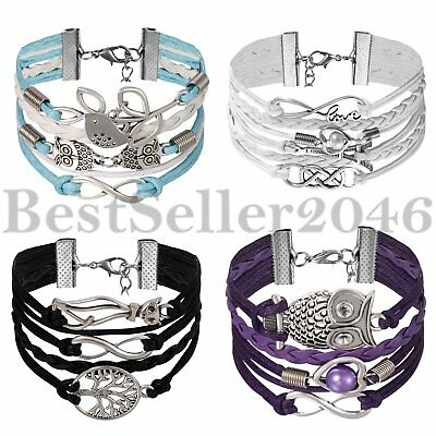4pcs Jewelry Fashion Multilayer Leather Cute Infinity Charm Bracelet Bangle Lots