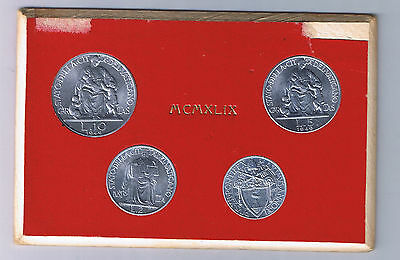 1949 Vatican City Mint Set 4 Coins 1 to 10 Lire Vaticano Pope Pius XII Vatikan