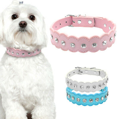 5pcs/lot Bling Puppy Small Dog Collars Necklace Wave Edge Rhinestone Decorated