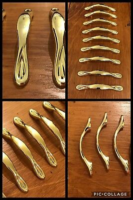 9 Handles Pulls Cabinet Drawer Bright Brass Finish Spoon Bin Vintage AMEROCK