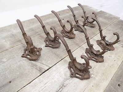 8 Cast Iron Rustic School Style Coat Hooks Hat Hook Hall Tree Restoration Large