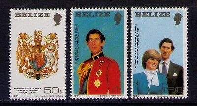 Belize Stamps 1981 Charles and Diana Wedding SC# 548-50,Perf.13/2 MNH