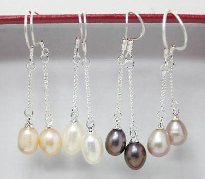 Fashion 6-7mm Genuine Natural Freshwater Pearl Real Silver Dangle Earrings