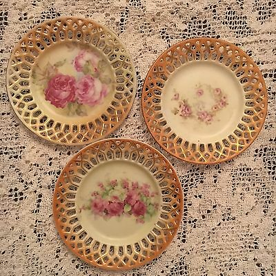 3 Pretty Antique Reticulated Small Decorative Cake Side Plates Victorian