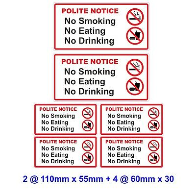 6 No Smoking Eating Drinking  Laminated  Vinyl  Stickers Taxi  Car Van  Hire etc