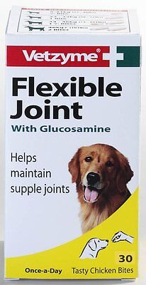 Vetzyme Flexible Joint Tablets with Glucosamine, 30 Tablets - Dog/Puppy/Animal