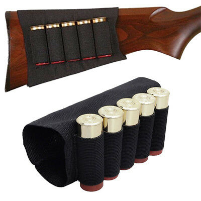 Hunting 5 Round Shotgun Buttstock Shell Holder 12/20 Gauge Tactical Ammo Pouch