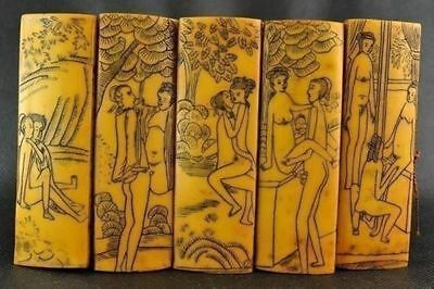 Rare collection of decorative old bamboo hand portray erotic figure