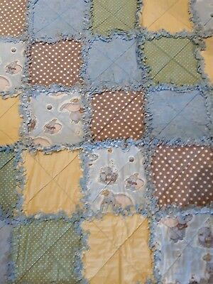 cot quilt/Floor rug, handmade, raggy style Dumbo REDUCED FOR CLEARANCE SALE