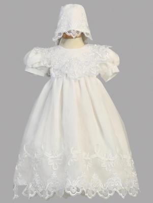 CLEARANCE Girls White Christening Baptism Gown Dress Organza Size 12-18M